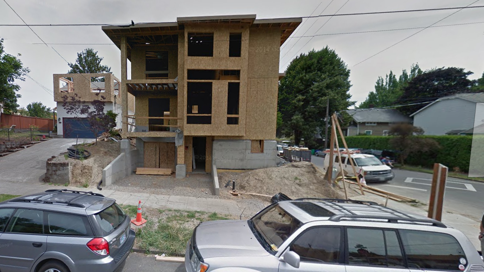Richmond house demolished lot partitioned the portland for Tuck under garage